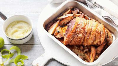 Roast leg of pork with apple sauce