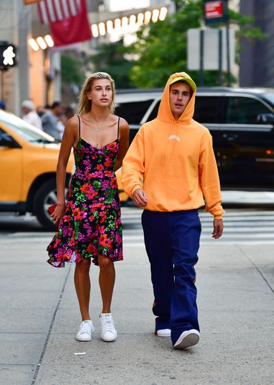 Hailey Baldwin and Justin Bieber seen on the streets of Midtown Manhattan on August 6, 2018 in New York City.