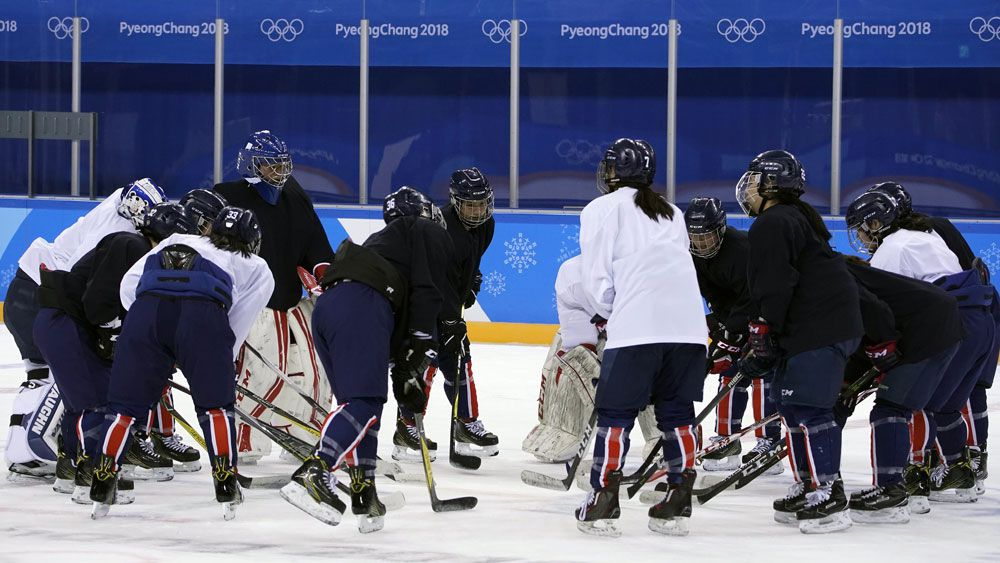 Korean combined women's ice hockey team.