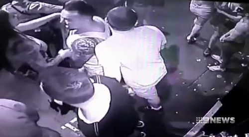An officer was allegedly punched in the face and another pushed to the ground during the altercation.