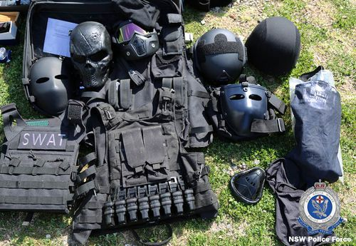 Among the weapons stockpiled were armoured helmets, ballistic vests and handcuffs.