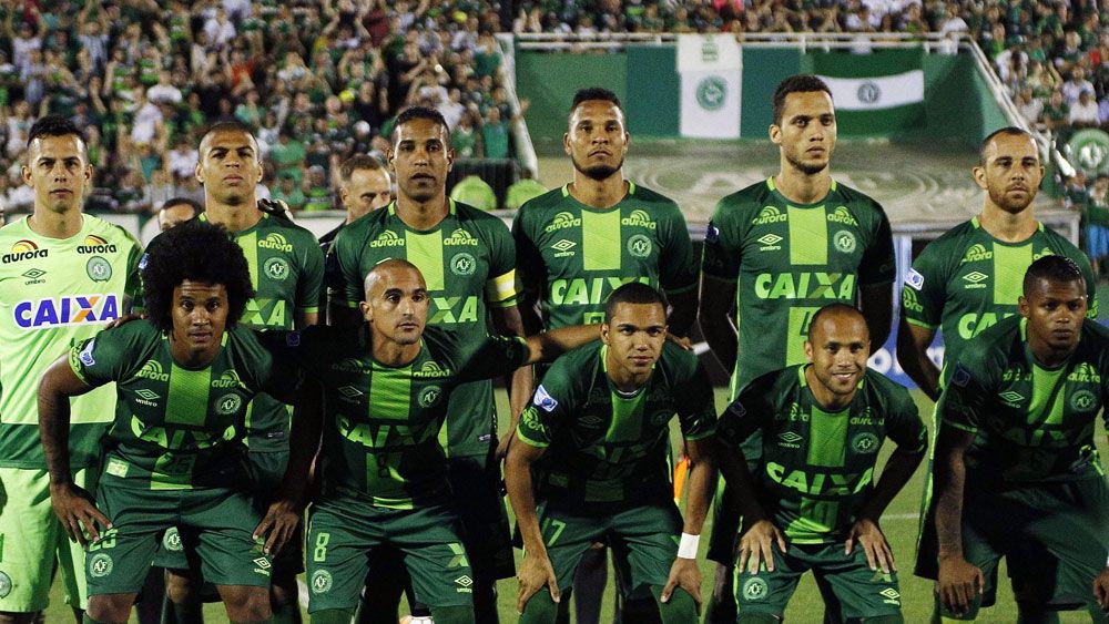 Chapecoense players before a semifinal at Copa Sudamericana. (AAP)