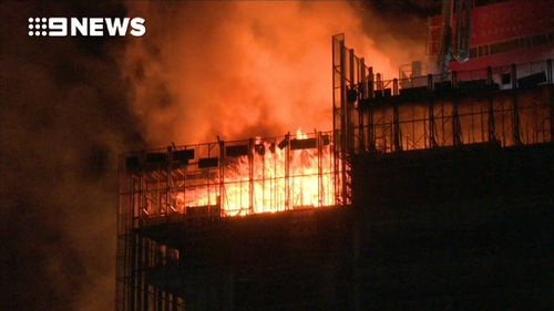 Fire tore through four storeys, NSW Fire & Rescue said. (9NEWS)