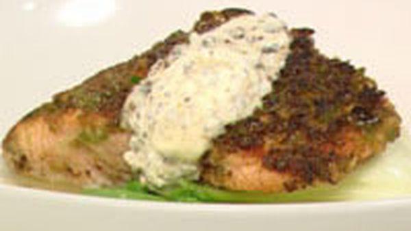 Wasabi pea crusted salmon with bok choy