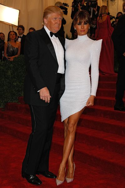 Donald Trump and Melania in Marc Bouwer couture at the 2012 Met Gala, <em>Schiaparelli And Prada: Impossible Conversations.</em>