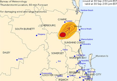 Severe thunderstorm warning issued for Sunshine Coast and surrounding areas
