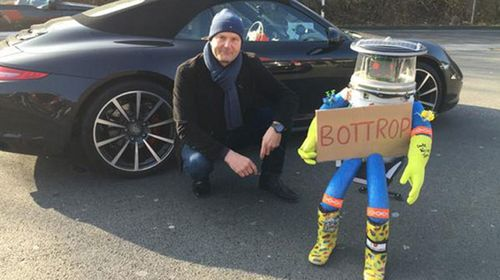 The robot during happier times road tripping across Germany. (Twitter)