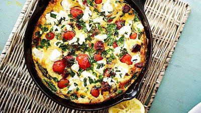 <strong>Chorizo, tomato and feta pan omelette</strong>