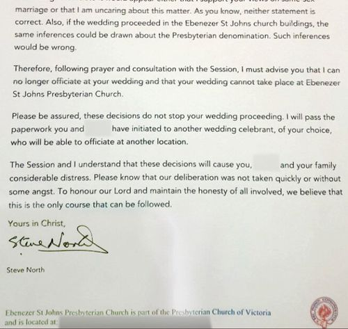 A copy of the letter sent to the couple by the church.