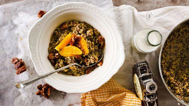 Orange & maple pecan quinoa porridge