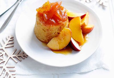 Peach and orange puddings with orange-blossom syrup