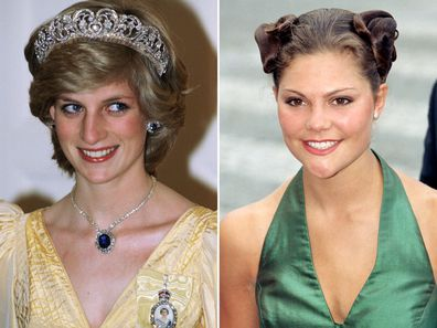 Princess Diana in 1983 and Princess Victoria of Sweden in 1997