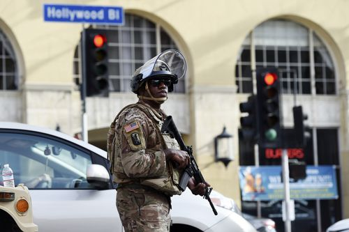 A US National Guard soldier watches over Hollywood Boulevard.