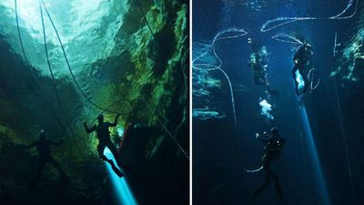 <p>South Australian police have released stunning images of their officers diving to great depths inside some of the state's deepest underwater sink holes.</p><p>Ten members of the South Australian Police Water Operations team documented their descent into the murky waters of 'Kilsbys Sinkhole' and 'The Shaft' near Mount Gambier, two sinkholes that are renowned for their depth and water clarity.</p><p>Pictures from underneath the surface reveal an otherworldly landscape, a desolate and hostile world that is only occasionally illuminated by bright beams of sunlight from above.</p><p>Kilsbys Sinkhole is approximately 65 metres deep, while 'The Shaft' drops to an almost unimaginable 120 metres.  </p><p>Police divers are often deployed to search for missing people, often in deep water locations. Divers may also be instructed to search for weapons in areas of zero visibility.</p><p>Tap through the gallery to see the remarkable images and video. </p>