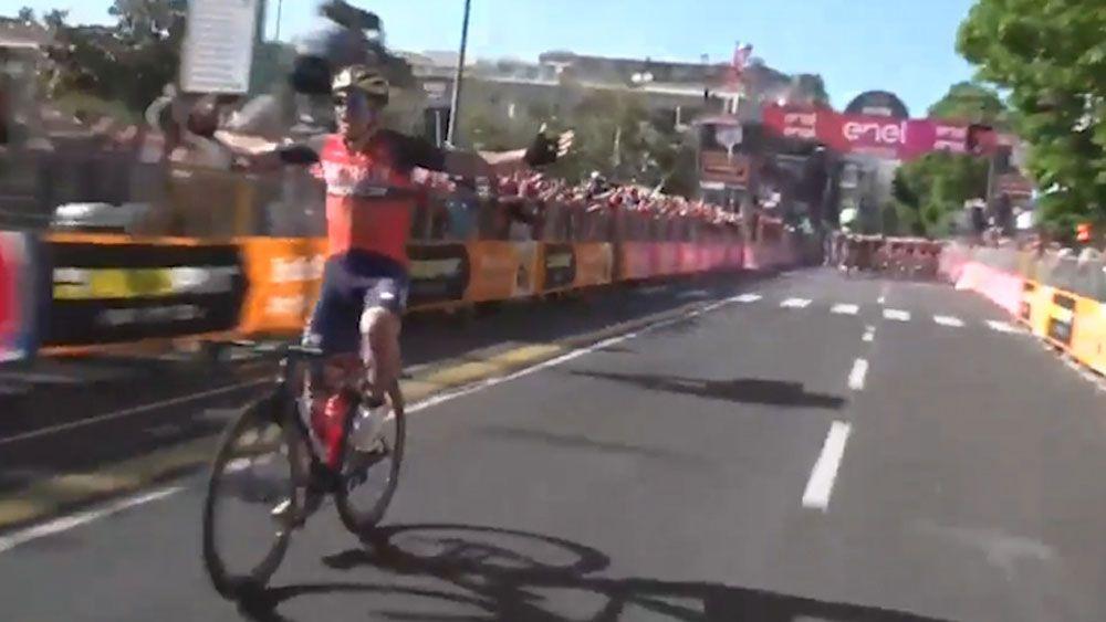 Giro d'Italia cyclist Luka Pibernik celebrates stage win prematurely