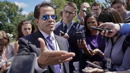 Anthony Scaramucci speaks to reporters. (AAP)