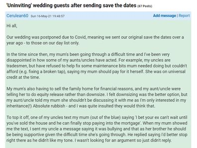 She has explained the complicated situation on Mumsnet.