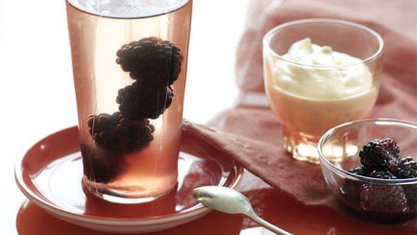 Pink Moscato and blackberry jellies with vanilla cream