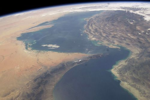 A NASA photo of the Straits of Hormuz.