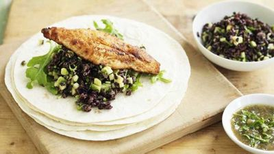 """Recipe:<a href=""""http://kitchen.nine.com.au/2016/05/05/14/30/fish-tortilla-with-avocado-rice-and-rocket"""" target=""""_top"""" draggable=""""false"""">Fish tortilla with avocado rice and rocket</a>"""
