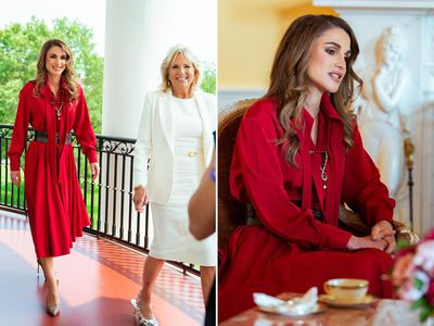 Queen Rania visits the Bidens at the White House, July 2021
