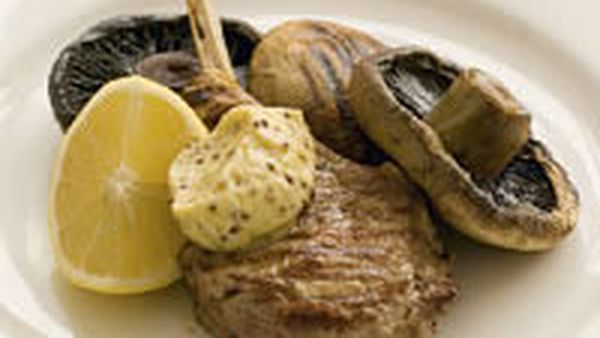 Veal and mushrooms with garlic mustard butter