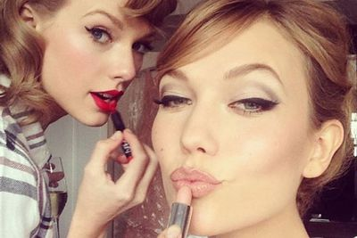 And since she's a total bestie collector, it would be a crime not to mention Tay's ultimate BFF Karlie Kloss... who she was also spotted pashing at a 1975 concert last week.<br/><br/>Could this be the ultimate twist in the love story of Swiftie?