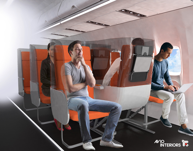 The Janus proposal features seats fitted with a three-sided shield. By Aviointeriors.