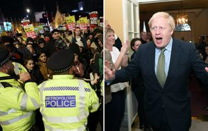 Protests erupt after Conservatives claim thumping election win
