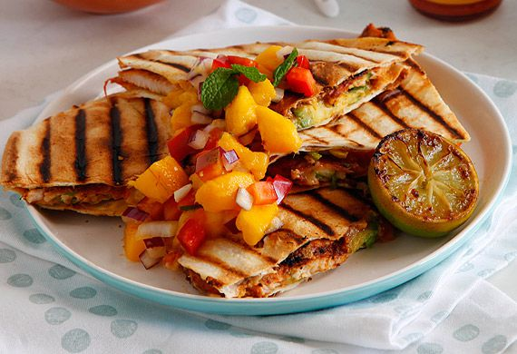 Chicken quesadilla with charred lime and mango salsa
