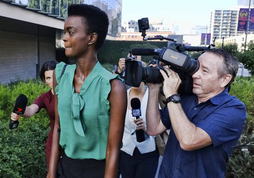 Australian-South Sudanese model Adau Mornyang arrives at the Federal Courthouse in downtown Los Angeles in July. The model and former Miss World Australia finalist Mornyang was in federal court for attacking a flight attendant and yelling a racial slur at an air marshall during a Melbourne to Los Angeles flight.