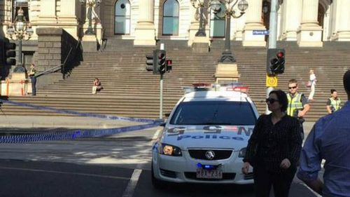 Police outside state parliament. (Supplied)