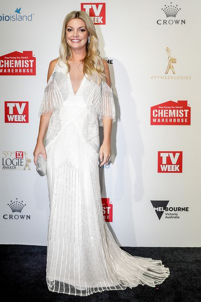 <p>Natalie Hunter wearing Monique Lhuillier</p>