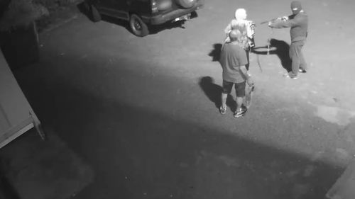The footage was made public as Victoria Police announce a massive reward $350,000 to anyone who can help detectives find the thug who terrorised the four people.