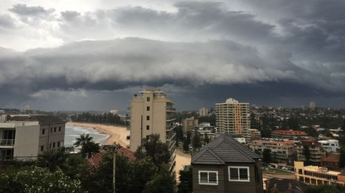 Ominous skies over Manly yesterday afternoon. (Julie Cross/Supplied)