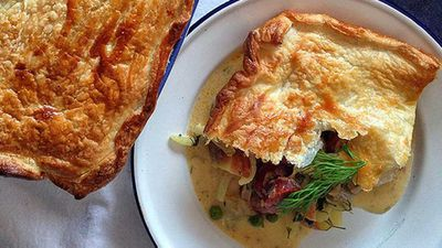 Renate's chorizo and herring pie