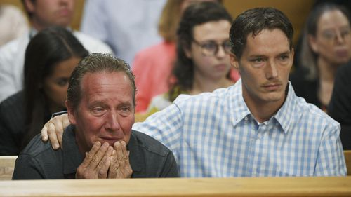 Frank Rzucek the father of Shanann Watts, left, and her brother Frankie Rzucek are in court. (AAP)