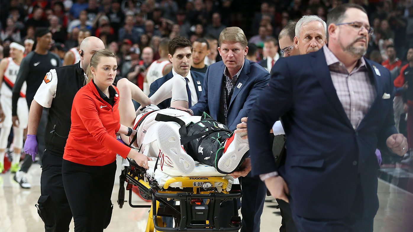NBA star Jusuf Nurkic stretchered off and hospitalised after 'horrifying' leg injury