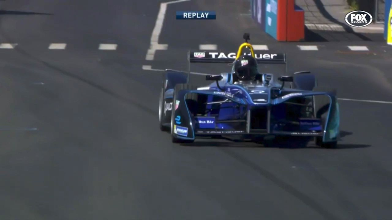 Hemsworth crashes Formula E car