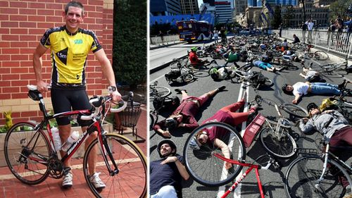Cam Frewer, left, founder of Drive Safe, Pass Wide, and, right, the 2017 'die-in' held in central Brisbane to protest injuries and fatalities to Qld bikers. (Supplied/AAP).