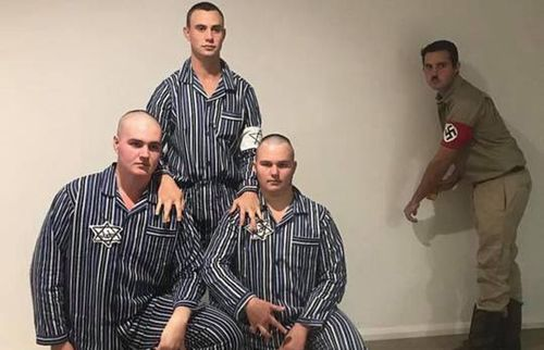 Partygoers dressed as prisoners from concentration camps among other costumes. Picture: Facebook