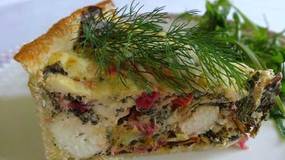 "Recipe: <a href=""http://kitchen.nine.com.au/2016/06/06/13/06/rainbow-silver-beet-leek-and-fetta-tart"" target=""_top"">Rainbow silver beet, leek and fetta tart</a>"