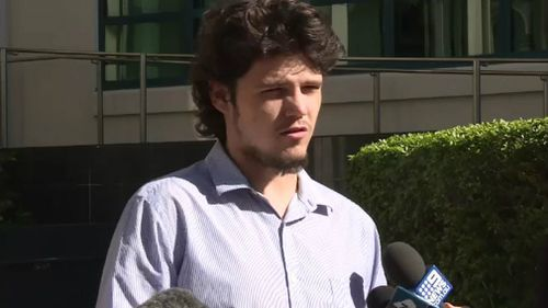 Giobi Geiger speaks outside court. Picture: 9NEWS