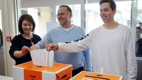 John Key with wife Bronagh and son Max, casting their votes at the 2014 election.