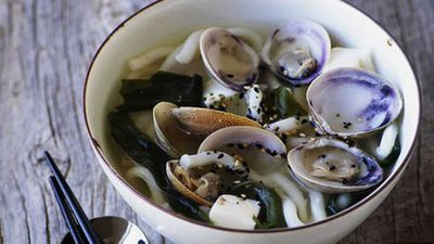 "Recipe:&nbsp;<a href=""http://kitchen.nine.com.au/2016/05/17/14/59/miso-clams-with-udon"" target=""_top"">Miso clams with udon</a>"