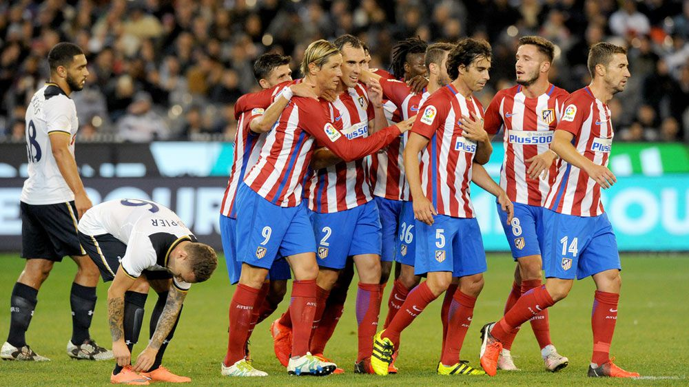 Atletico Madrid celebrate their goal (AAP)