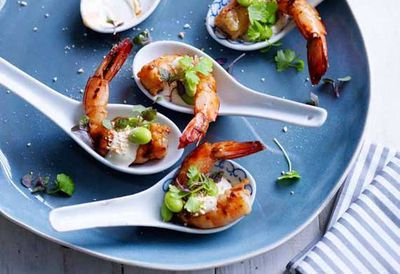 """<a href=""""http://kitchen.nine.com.au/2016/05/04/15/28/hayden-quinns-grilled-ginger-prawns-with-yuzu-mayo-soy-beans-and-roast-ground-rice"""" target=""""_top"""">Grilled ginger prawns with yuzu mayo, soy beans and roast ground rice<br /> <br /> <br /> </a>"""