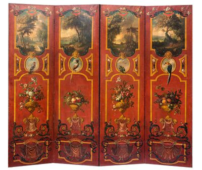 <strong>An Italian four panel painted leather screen, 18th/19th century</strong>