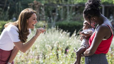 Kate Middleton, Duchess of Cambridge, meets with parents in a London park