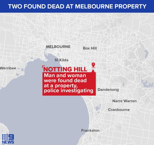 Map of the location in Notting Hill in Victoria where a man and a woman were found dead.